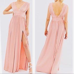 ASOS Design Premium Lace Maxi Dress gown pink 4